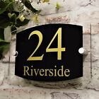 MODERN DOOR NUMBER SIGN HOUSE ADDRESS PLAQUE STREET/PROPERTY PLATE GLASS EFFECT