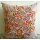"Colorful Spiral Jute Orange Art Silk 16""x16"" Pillow Covers - Spring Dance"