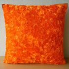 "Orange Art Silk 16""x16"" Abstract Ribbon Throw Pillows Cover - Orange Peel"