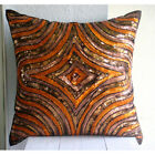 "Orange Art Silk 16""x16"" Sequins Illusion Pillows Cover - Orange Illusion"