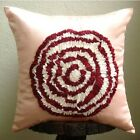 "Pink Satin 16""x16"" Ribbon Rose Flowers Throw Pillows Cover - Rosy Rose"