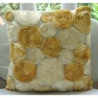 Ivory Art Silk 16x16 Ribbon Gold Rose Flower Pillows Cover - Gold N Ivory Blooms
