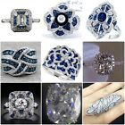 Gorgeous 925 Silver Blue & White Sapphire Gem Ring Women Wedding Bridal Jewelry