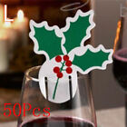 Wholesale 50Pcs Xmas Hats Champagne Wine Glass Cup Cute Caps Christmas Party Lot