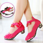 New Fall Winter Kids Young Girls Leopard High-heels Shoes Ankle Tassel Party