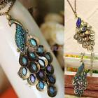 Fashion Bronze Style Peacock Blue&Green Crystal Chain Pendant Charm Necklace FO