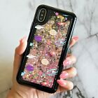 Black Floating Stars Space Liquid Waterfall Bling Glitter Case For iPhone Models