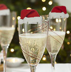 10/20/30PCS Xmas Hats Champagne Wine Glass Caps Christmas Decor Party Gifts