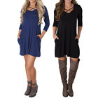 NEW Women Long Sleeve Bodycon Casual Party Evening Cocktail Short Mini Dress