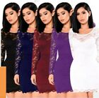 Women Round Neck Long Sleeves Lace Bodycon Casual Clubwear Mini Dress