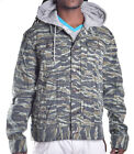 LRG Lifted Research Group Men's Tiger Camo Button Up Hoodie Jacket Size Small
