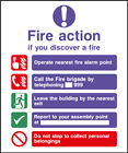 Fire Action Safety Signs - plastic & sticker options