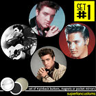 Elvis Presley SET OF 4 BUTTONS or MAGNETS or MIRRORS pinback badges pins #1385