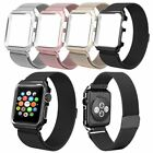 38/42mm Black Milanese Metal Magnetic Watch Band Strap & Case For Apple Watch