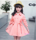 New Fall Winter Kids Young Girls Double Breasted Windbreaker Coats Flowers Sweet