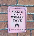 Woman Cave Sign Personalised Metal Lady Cave Sign Gift Idea