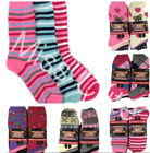 WOMENS THERMAL SOCKS 6 PAIRS WINTER DESIGN PATTERN HIKING BOOT SOCKS SIZE 4-7