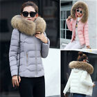 Women Jacket Lady Quilted Padded Puffer Fur Collar Winter Warm Bubble Puffa Coat