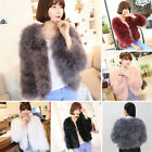 Real Ostrich Feather Fur Turkey coat Jacket long sleeve Top Chic Short Winter