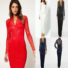 Hollow Out Sexy Scallop V-Neck Long Sleeve Elegant Lace Maxi Dress Wedding Party