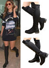 Ladies Womens Flat Over the Knee Boots Stretch Riding Thigh High Zip Shoes Size