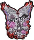 """10"""" Skull Angel Wings Embroidered Applique Patch Sew Iron on Polo T shirt Jacket"""