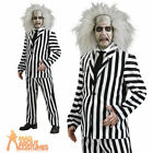 Adult Deluxe Beetlejuice Costume Halloween Horror Mens Fancy Dress Outfit New
