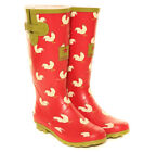 HAWKINS ~ LADIES WELLIES ~ RED ~ WELLINGTON BOOTS ~ CHICKENS ~ SIZE 4 5 6 7 8