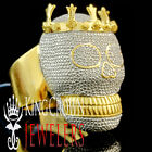 REAL GENUINE DIAMOND MENS HEAVY 14K YELLOW GOLD SILVER D/VVS1 CROWN SKULL RING
