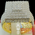 MENS LADIES REAL YELLOW GOLD ON STERLING SILVER LAB DIAMOND ENGAGEMENT RING BAND