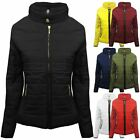 Womens Quilted Padded Puffer Bubble Fur Collar Winter Bomber Jacket Thick Coat