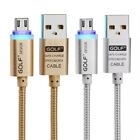 Golf Smart LED Micro USB Data Cable 2.1A Fast Charging Metal Nylon Braided V8
