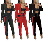 2PCS Tracksuit Women Long Sleeves Bodycon Casual Club Jumpsuit Sports Playsuit