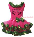 Oh Deer I'm Here Hot Pink Top Camouflage Satin Trim Skirt Girls Outfit Set NB-8Y