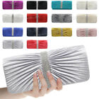Ladies Womens New Pleated Satin Chain Envelope Wedding Evening Prom Clutch Bag