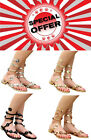 Ladies Womens Flat Ankle Wrap Strappy Toe Post Gladiator Sandals Shoes Size
