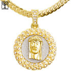 Men's CZ Jesus Medallion Pendant 20