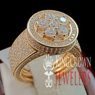 Ladies Real Silver Rose Gold Cluster Solitaire Lab Diamond Promise Bridal Ring