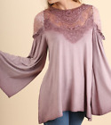 Umgee Mauve or Blue Bell Sleeve Tunic with Victorian Lace Crocheted Detail