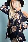 Navy Flower Long Bell Sleeves Cold Shoulder Tunic Top