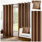 Luxury Faux Silk Chocolate Ready Made Eyelet Ring Top Curtains Fully Lined New