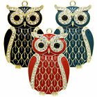 6.5 cm owl pendant - rhinestone eyes & gold plated trim, in red, green or black