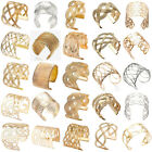 Women's Hollow Punk Styles Gold/Silver Plated Big Wide Cuff Charm Bracelet