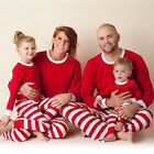 Family Matching Christmas Pajamas Set Striped Sleepwear For Mens Women Baby Kids