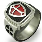 Stainless Steel Titanium Red Cross Knight Crusader Ring Medieval Retro Vintage