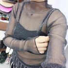 Multi Style Lady See through Top Sheer Mesh Blouse Long Sleeve Party Black Crop