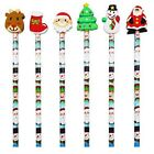 1 - 50 Childrens Christmas Eraser Top Pencils Party Bag Fillers Lucky Dip Toys