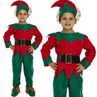 CHILDREN KIDS BOYS CHILD ELF FANCY DRESS COSTUME CHRISTMAS SANTAS HELPER OUTFIT