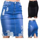 Women's Distressed Extreme Ripped Midi Pencil Bodycon Denim Skirt Blue Black