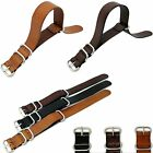Universal 18/20/22mm Genuine Leather WatchBand Strap Zulu Stainless Steel Buckle